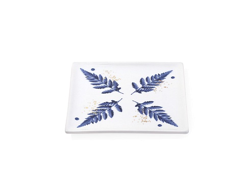 Soap Dish Blue Leaves
