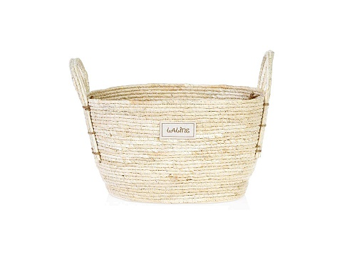Natural Straw Oval Basket M