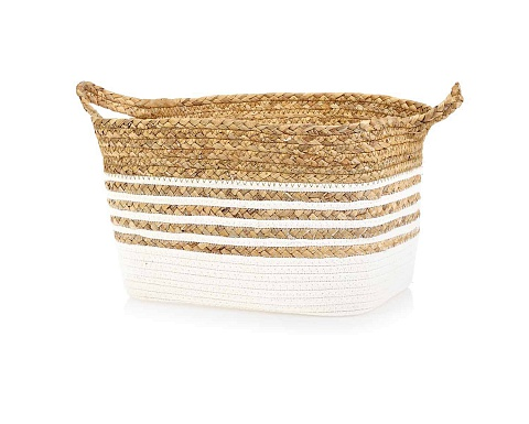 Two Tones Textile & Straw Basket L