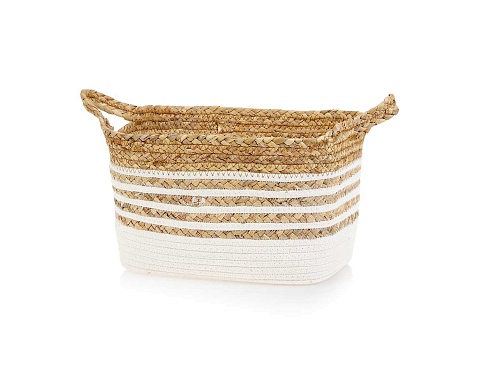 Two Tones Textile & Straw Basket M